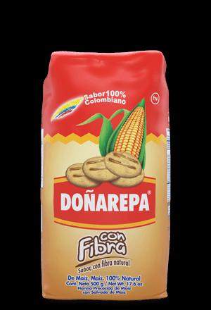 Harina de maíz Doñarepa rica en Fibra
