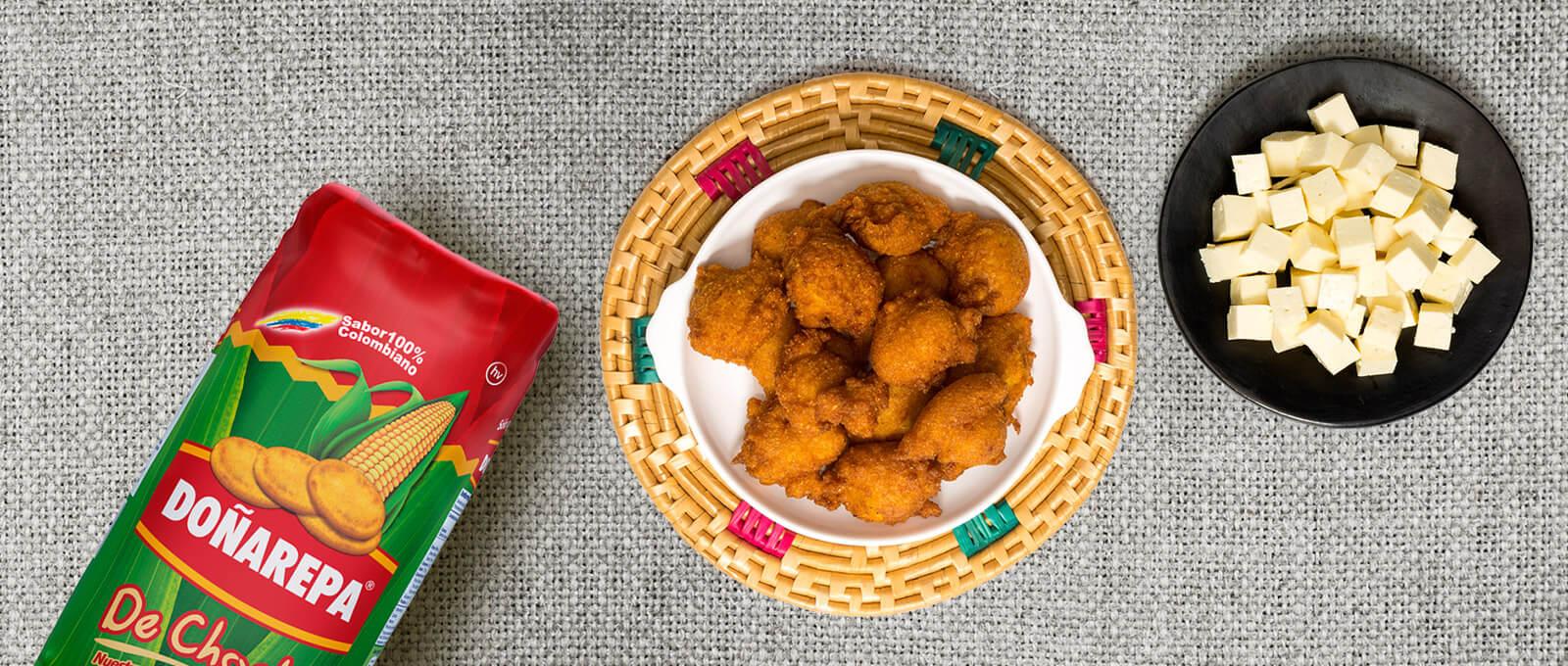 Croquetas de choclo con harina maiz de Doñarepa
