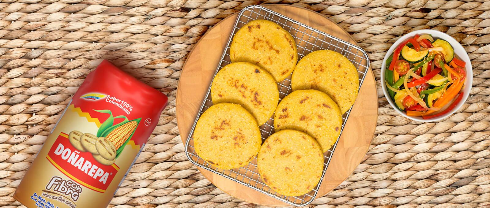 Recetas de arepas hechas con productos Doñarepa