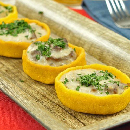 Stroganoff receta en canastilla hechas con Doñarepa