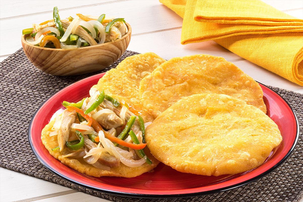 Receta de tortos de maiz con vegetales y pollo