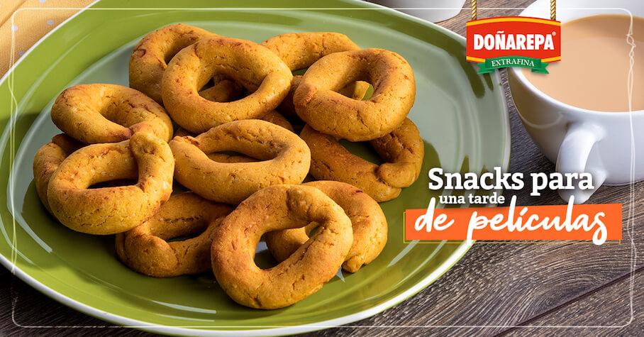 Snacks fáciles de preparar con harina de maíz Doñarepa
