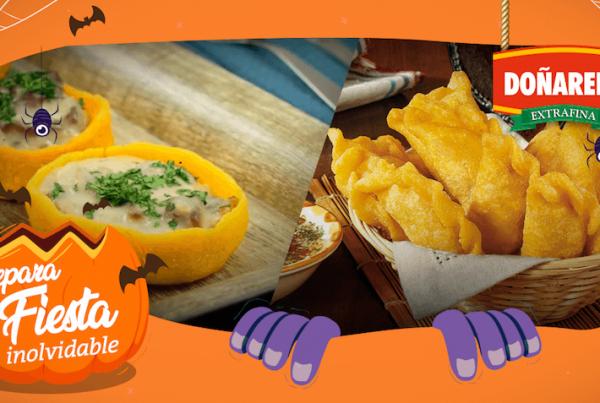 Comida para Halloween acompañada con productos Doñarepa